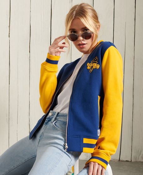 Buzo-Hoodie-Abierto-Para-Mujer-Collegiate-Scripted-Baseball-Bomber-Superdy