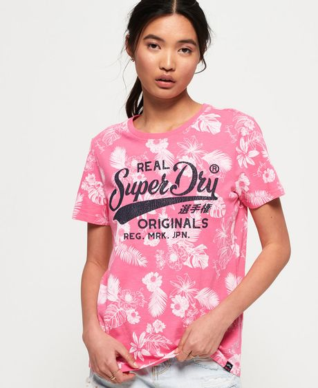 Camiseta-Para-Mujer-Real-Originals-Mono-Trpical-Aop-Entry-T-Superdry